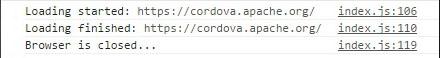 Cordova InAppBrowser Exit Console