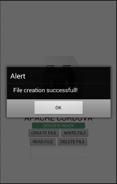 Cordova File Create