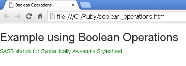 Sass Boolean Operations