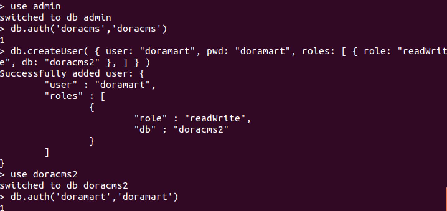 添加doracms用户