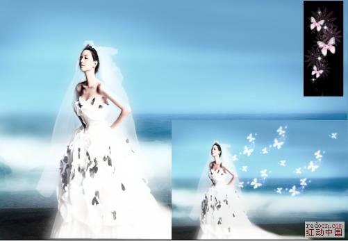 Photoshop打造超梦幻美女天使婚片