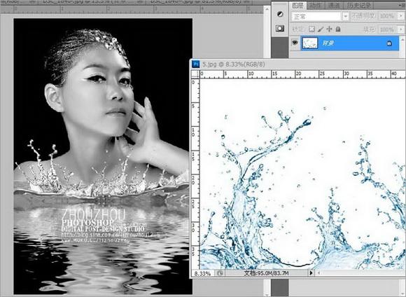 Photoshop打造美女黑白倒影效果