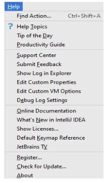 使用IntelliJ IDEA帮助菜单命令