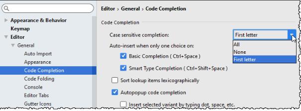 IntelliJ IDEA设置代码大小写的区分策略