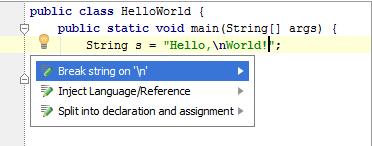 使用换行符分割IntelliJ IDEA字符串文本