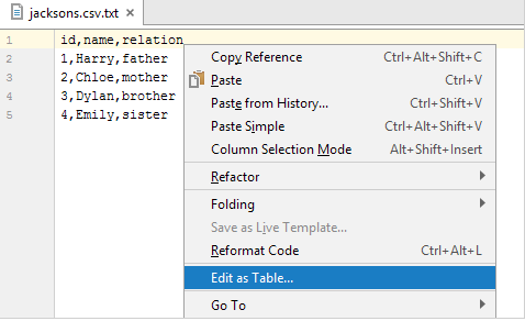 打开IntelliJ IDEA表编辑器