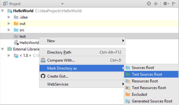"""在IntelliJ IDEA""""项目""""工具窗口中指定文件夹类别"""