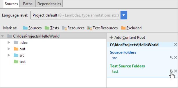 IntelliJ IDEA将包前缀分配给具有 Java 源的文件夹