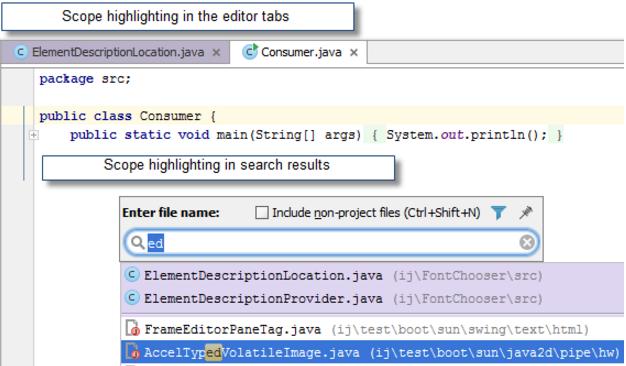 IntelliJ IDEA将文件颜色与作用域相关联
