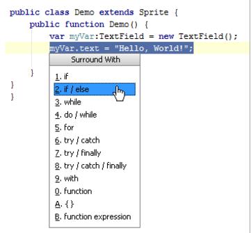 IntelliJ IDEA使用语言构造的周围代码块