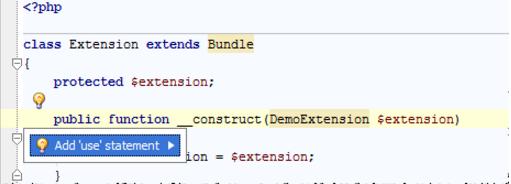 IntelliJ IDEA 使用快速修复程序导入PHP命名空间