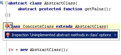 IntelliJ IDEA代码检查示例:类中未实现的抽象方法