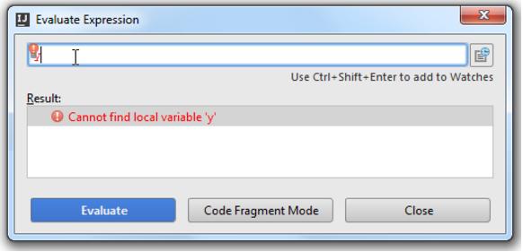 IntelliJ IDEA计算堆栈框架中的表达式或代码片段