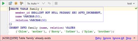 IntelliJ IDEA数据库:使用错误通知栏