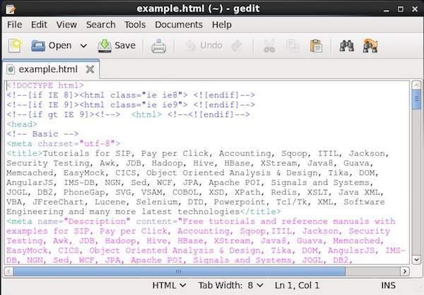示例HTML